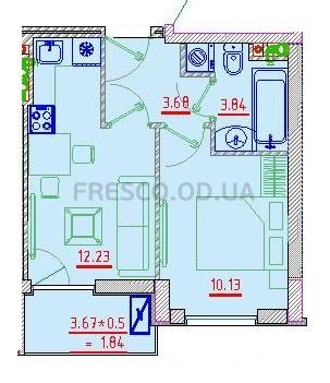 Однокомнатная - Клубный дом Пространство на НеделинаПроданаПлощадь:32,93m²