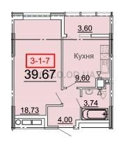 Однокомнатная - ЖК 31 Жемчужина$40215Площадь:38,3m²