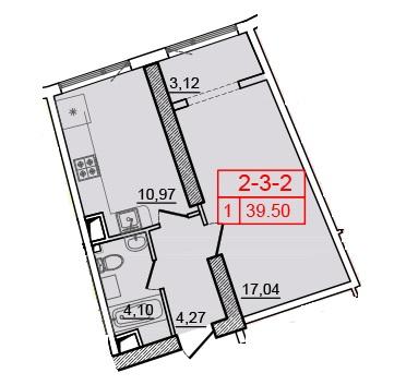 Однокомнатная - 36 Жемчужина (Тридцать шестая)ПроданаПлощадь:39,5m²