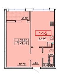 Однокомнатная - ЖК 21 ЖемчужинаПроданаПлощадь:42,1m²