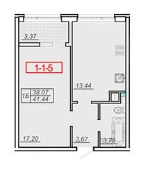 Однокомнатная - ЖК 20 Жемчужина$26814Площадь:42,4m²