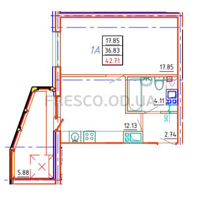 Однокомнатная - ЖК Удобный$35022Площадь:42,71m²