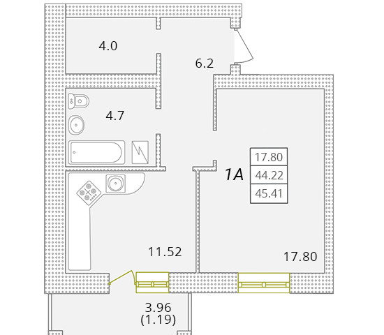 Однокомнатная - ЖК Парк Совиньон$33608Площадь:44,81m²