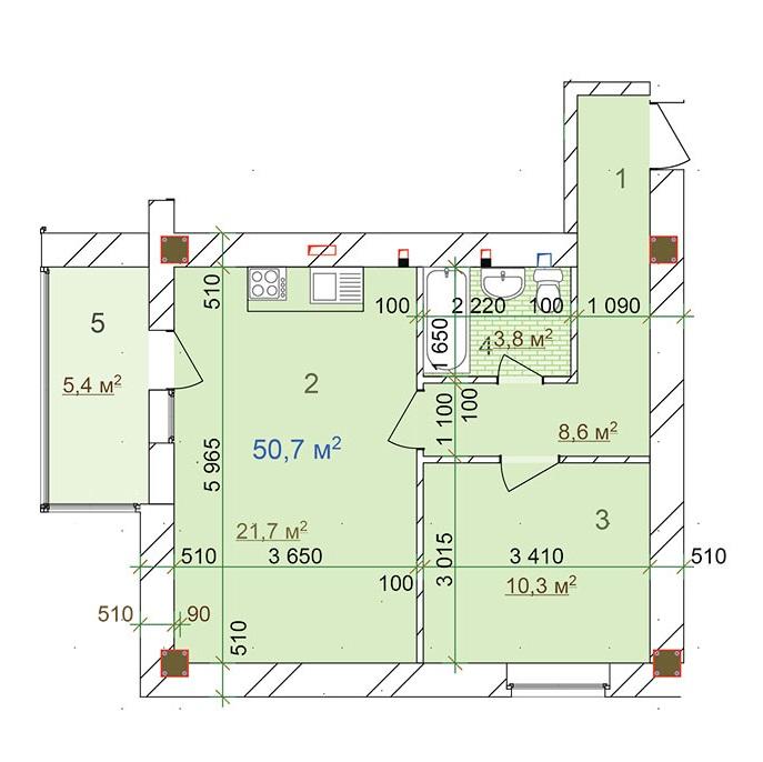 Однокомнатная - ЖК Одесская Чайка на Плиева$29936Площадь:50,7m²