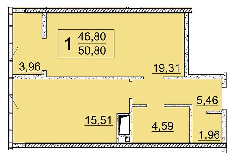 Однокомнатная - 24 Жемчужина 25 ЖемчужинаПроданаПлощадь:50,8m²