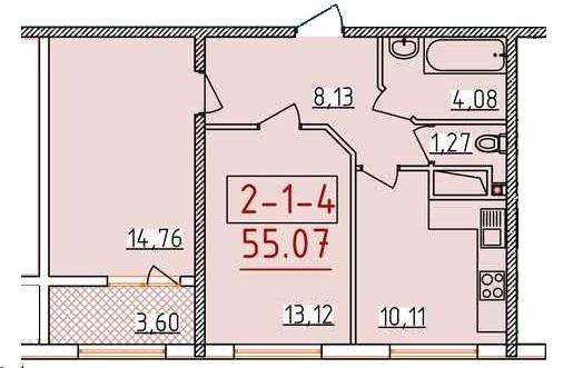 Двухкомнатная - ЖК 34 ЖемчужинаПроданаПлощадь:55,07m²