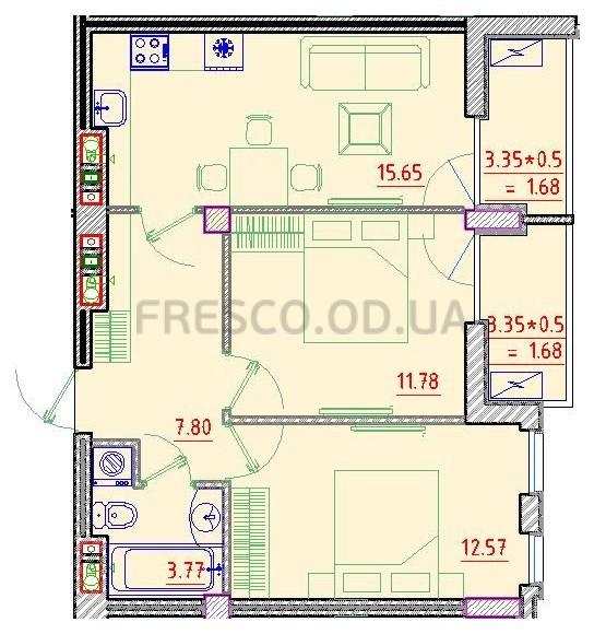 Двухкомнатная - Клубный дом Пространство на Неделина$51787Площадь:56,29m²