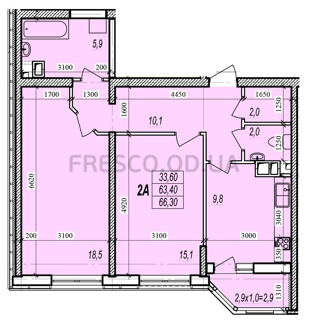 Двухкомнатная - ЖК Прохоровский квартал$44753Площадь:66,3m²