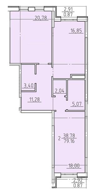 Двухкомнатная - ЖК 23 Жемчужина$110098Площадь:77,8m²