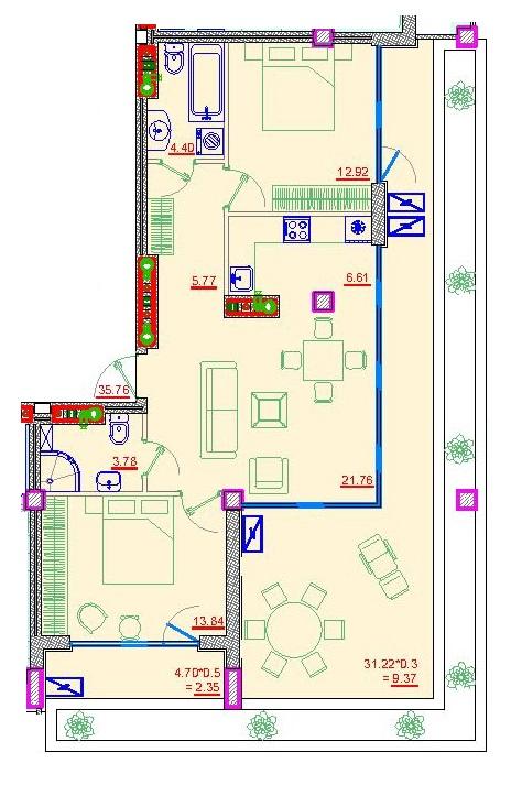 Трехкомнатная - Клубный дом Пространство на НеделинаПроданаПлощадь:82,1m²
