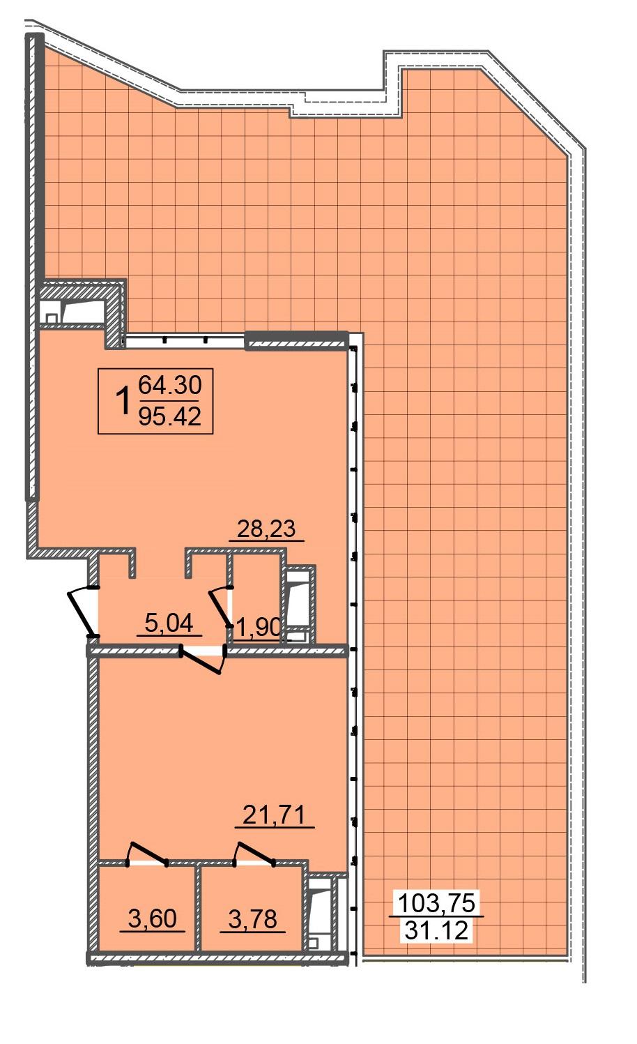 Однокомнатная - 24 Жемчужина 25 ЖемчужинаПроданаПлощадь:97,7m²