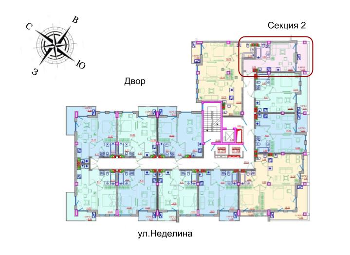 30,09 кв.м Клубный дом Пространство на Неделина однокомнатная расположение на этаже