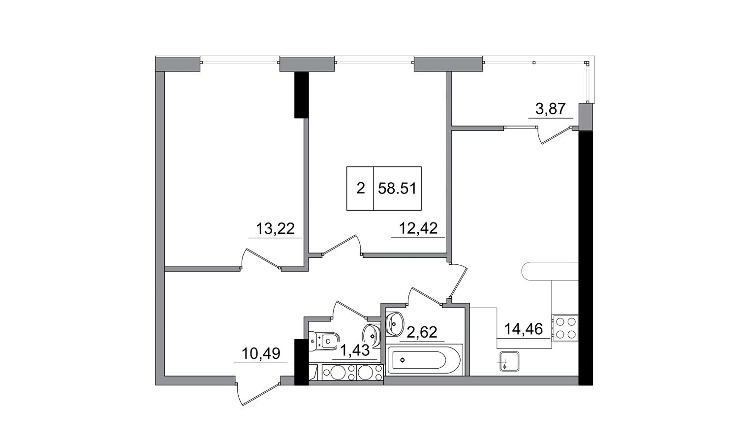 Двухкомнатная - ЖК ArtVille (АртВилль)$41074Площадь:58,51m²