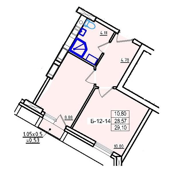 Однокомнатная - ЖК КонтинентПроданаПлощадь:29,1m²