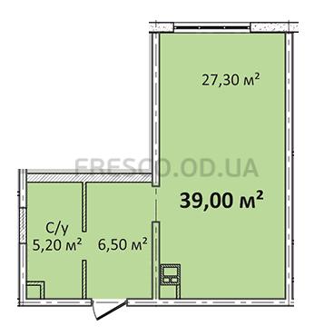 Однокомнатная - Апарт- комплекс ЛитературныйПроданаПлощадь:39m²