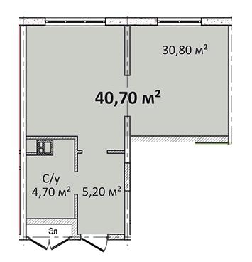 Однокомнатная - Апарт- комплекс Литературный$34595Площадь:40,7m²