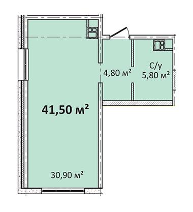 Однокомнатная - Апарт- комплекс Литературный$34445Площадь:41,5m²