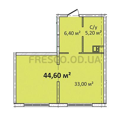 Однокомнатная - Апарт- комплекс Литературный$37018Площадь:44,6m²