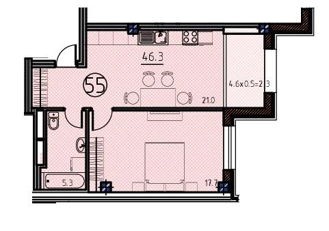 Однокомнатная - ЖК Клубный дом Бецалель (Bezalel)ПроданаПлощадь:46,3m²