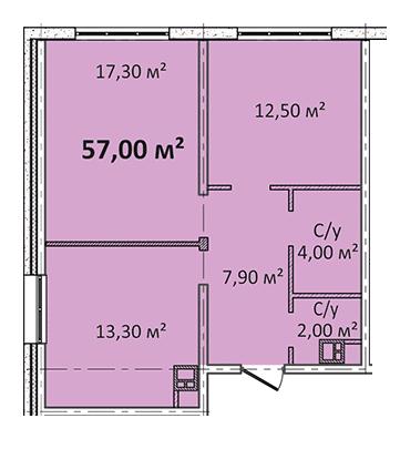 Двухкомнатная - Апарт- комплекс Литературный$45600Площадь:57m²