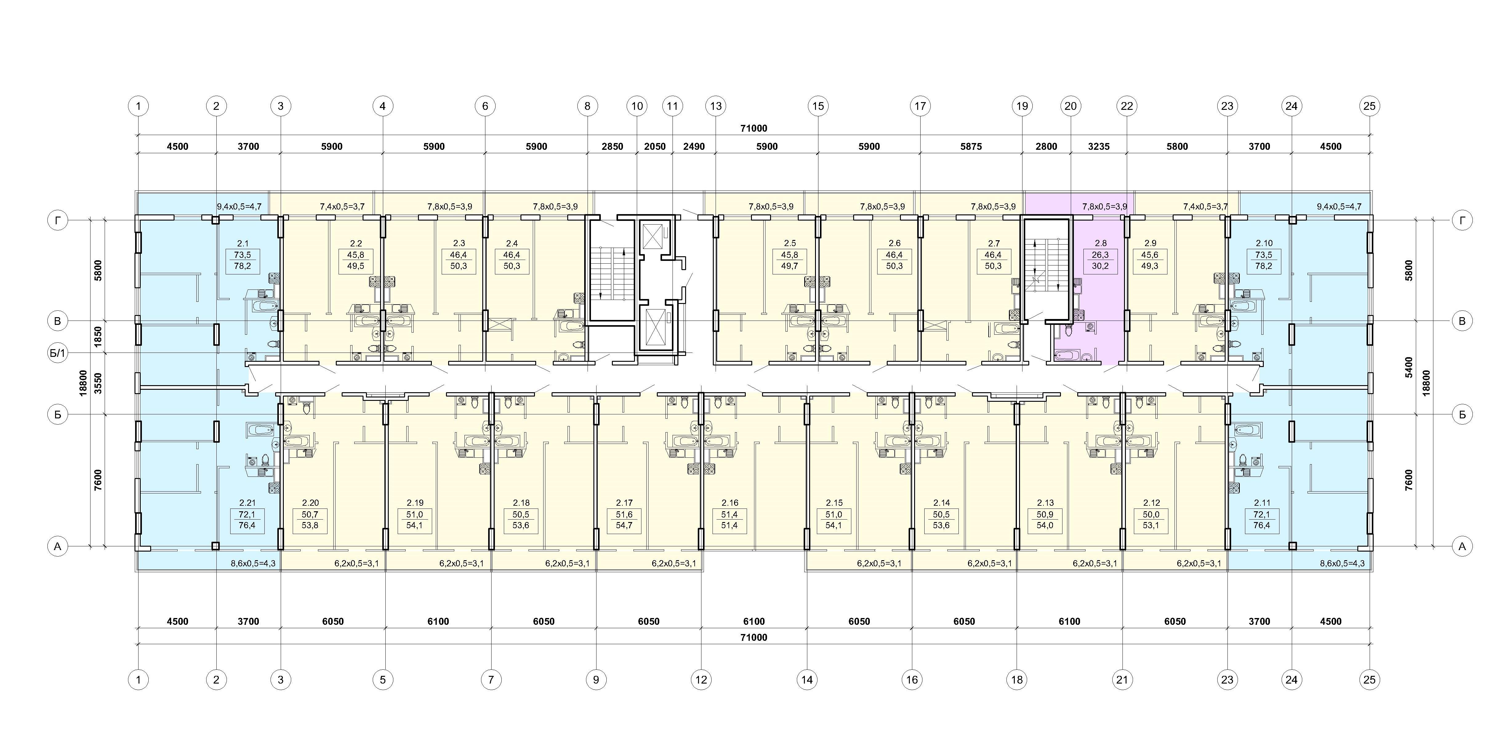 ЖК Калипсо план 2-3 этажа