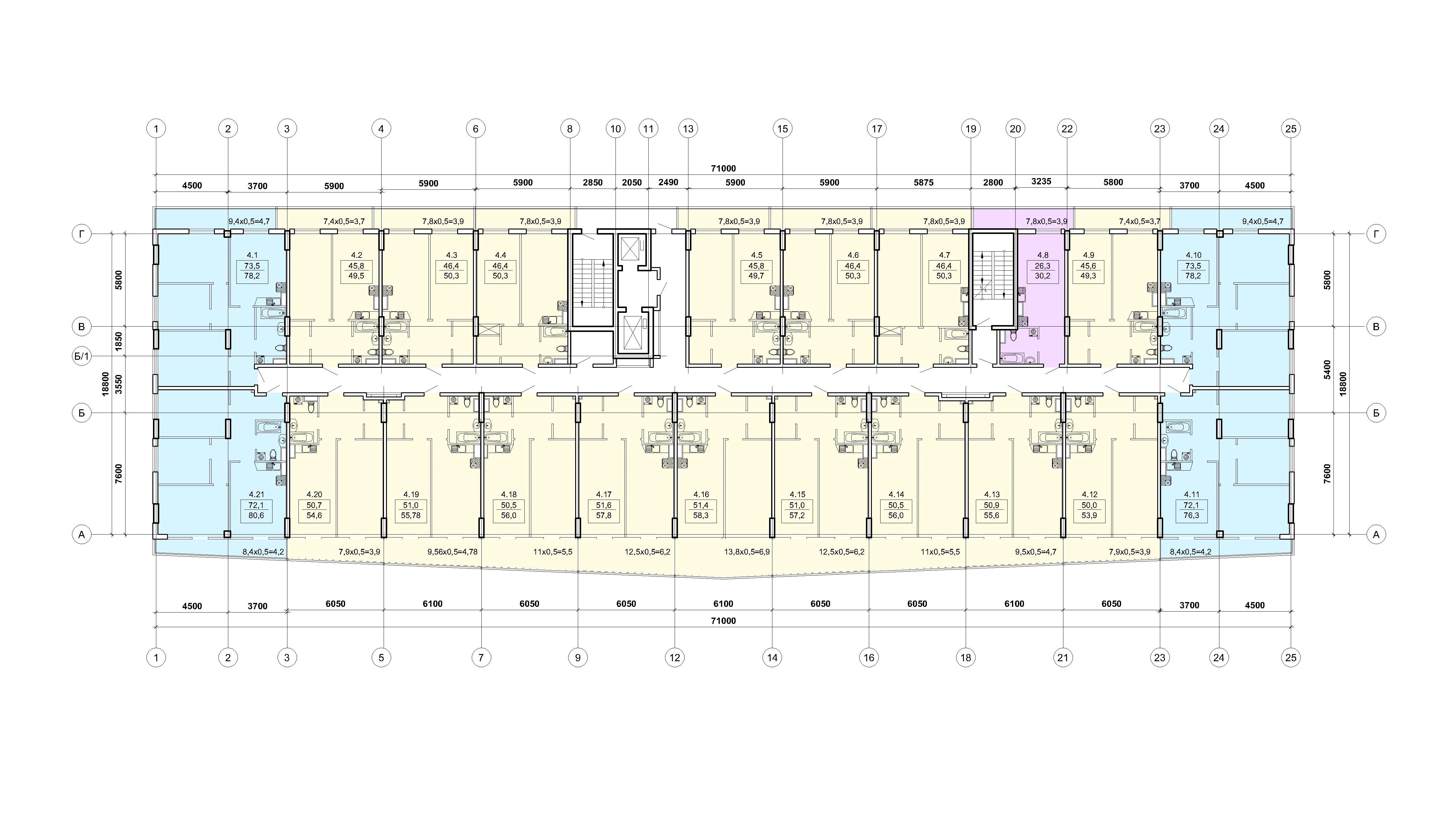 ЖК Калипсо план 4,6,8 этажа