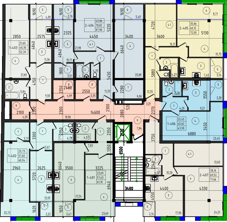 ЖК Legend house (Легенд Хаус) план типового этажа