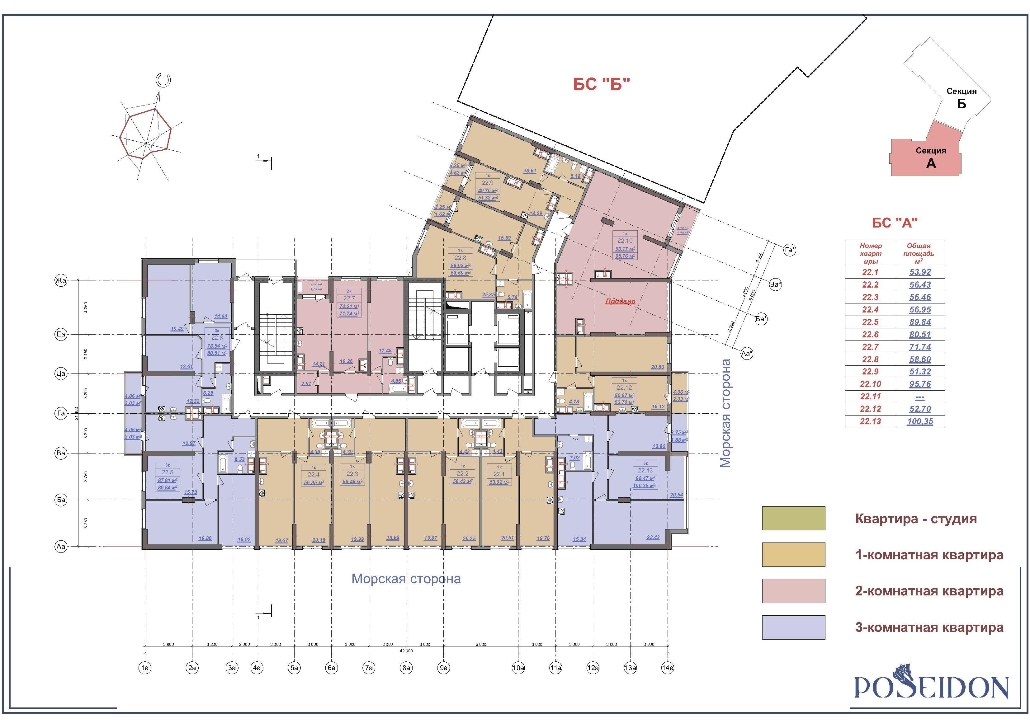 ЖК Посейдон план 22 этажа
