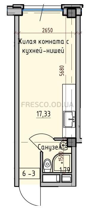 Однокомнатная - Пространство на ДонскогоПроданаПлощадь:19,12 m²