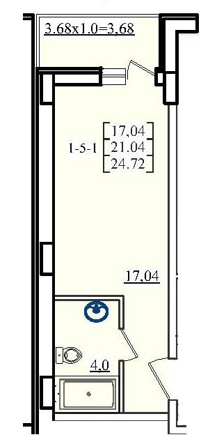 Однокомнатная - ЖК Платинум Резиденс Platinum Residence$26129Площадь:24,72m²