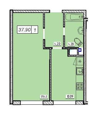 Однокомнатная - ЖК 49 ЖемчужинаПроданаПлощадь:37,9m²