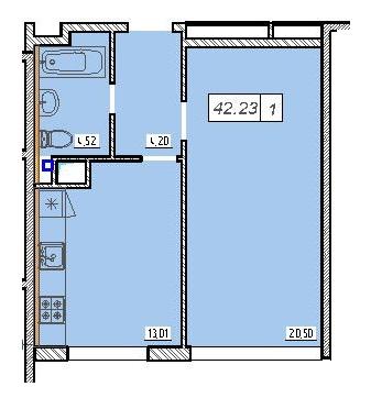 Однокомнатная - ЖК 49 Жемчужина$27984Площадь:42,4m²