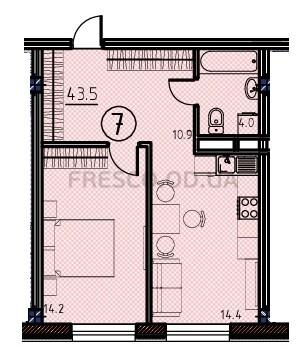 Однокомнатная - ЖК Клубный дом Бецалель (Bezalel)ПроданаПлощадь:43,5m²