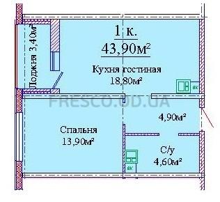 Однокомнатная - Альтаир 3 Будова на Жаботинского$38131Площадь:43,9m²