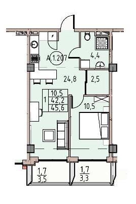 Однокомнатная - Пространство на ДонскогоПроданаПлощадь:45,6m²