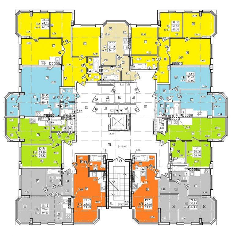 ЖК Приморские Сады 5 дом, планировка этажа