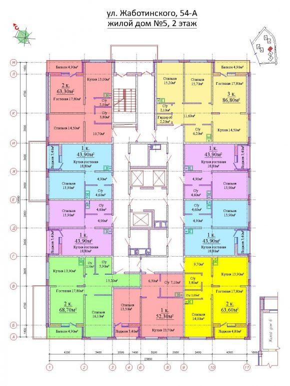 ЖК на Жаботинского Альтаир 3 Планировка 5 секция 2 этаж