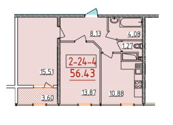 Двухкомнатная - ЖК 34 Жемчужина$43169Площадь:56,43m²