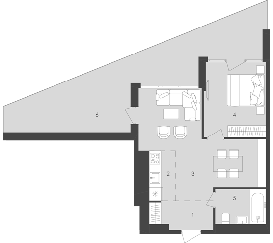 56,85 кв.м Aura Apart (Аура Апартментс) однокомнатная планировка