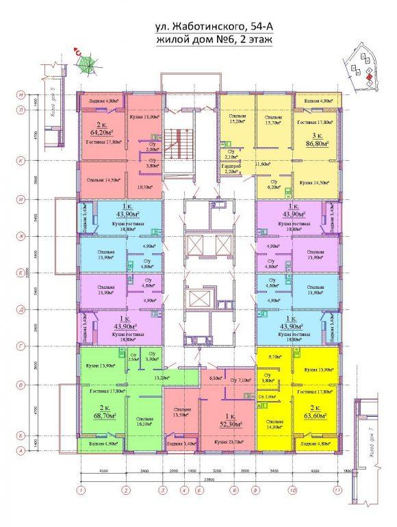 ЖК на Жаботинского Альтаир 3 Планировка 6 секция 2 этаж