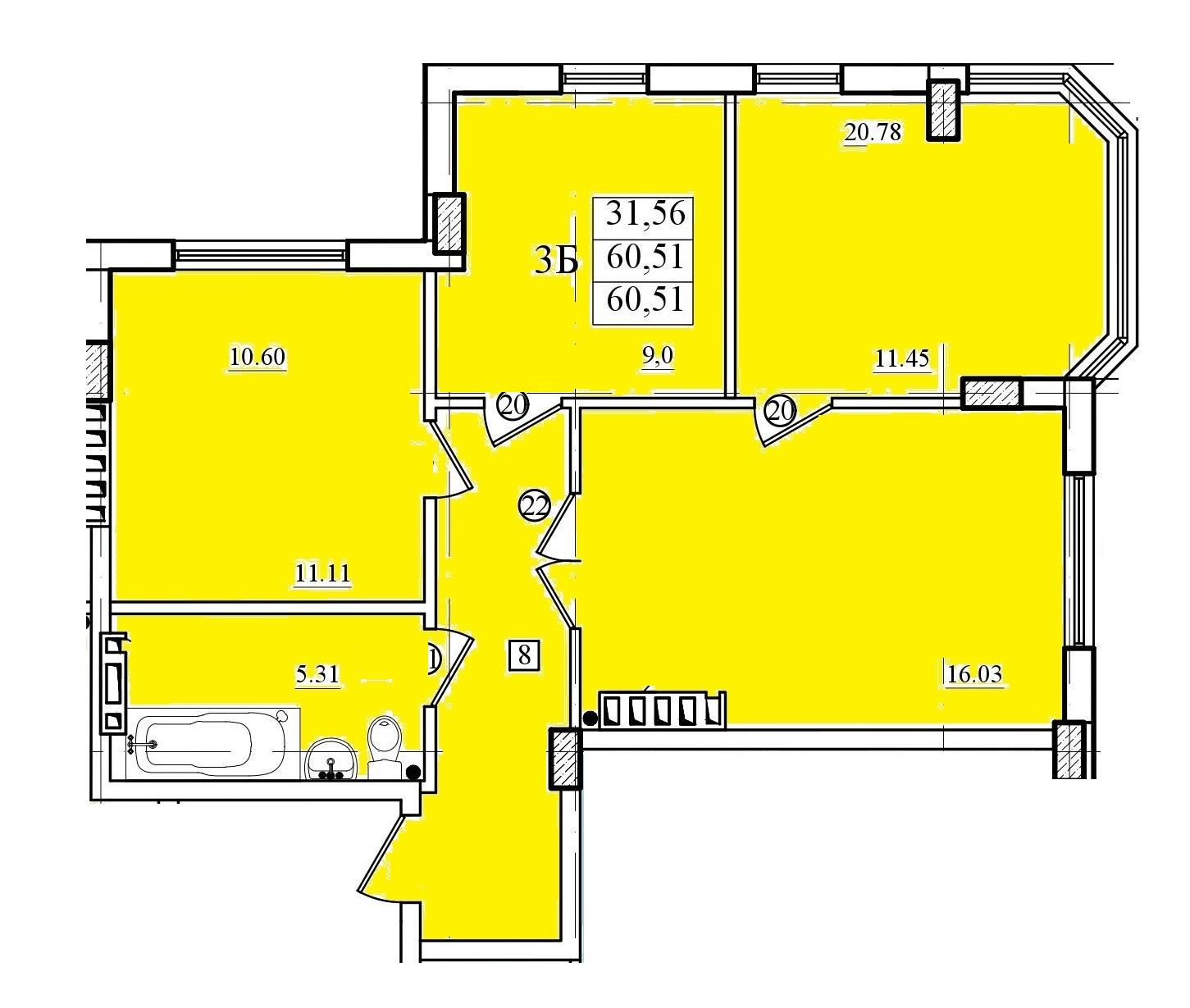 Трехкомнатная - ЖК Приморские Сады$37711Площадь:62,9 m²