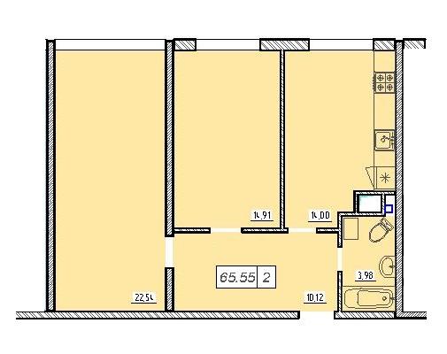 Двухкомнатная - ЖК 49 Жемчужина$42510Площадь:65,4m²