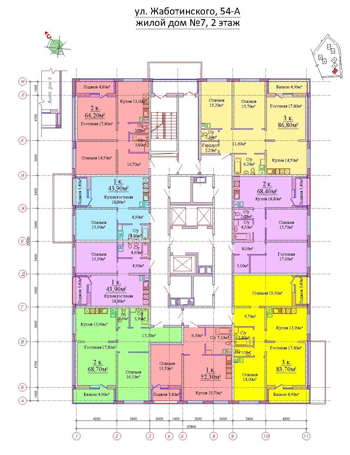 ЖК на Жаботинского Альтаир 3 Планировка 7 секция 2 этаж
