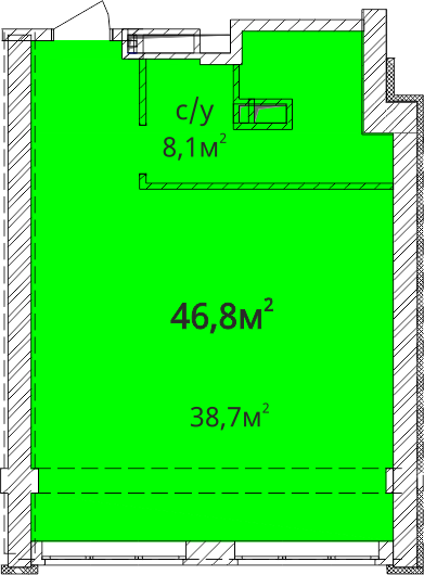 Однокомнатная - ЖК Орион$43000Площадь:46,8m²