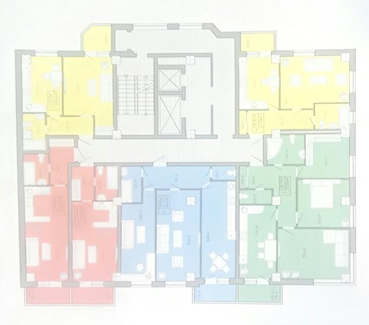 ЖК Акварель на Пишоновской план типовой этажа 1 секция