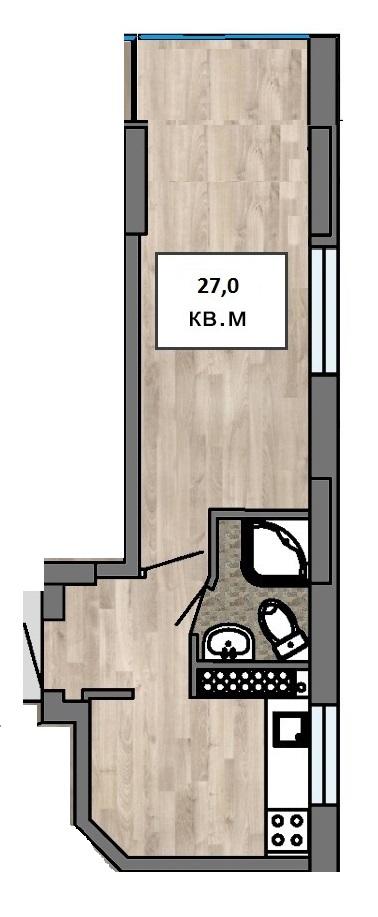 Однокомнатная - ЖК Клубный 7ПроданаПлощадь:27m²