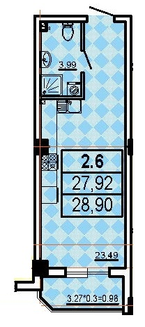Однокомнатная - ЖК Аполлон$30156Площадь:28,72m²