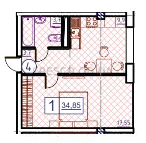 Однокомнатная - ЖК Пространство на ГераневойПроданаПлощадь:34,42m²