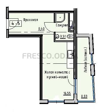 Однокомнатная - Пространство на Раскидайловской$28444Площадь:36,95m²