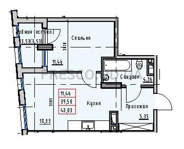 Однокомнатная - Пространство на Раскидайловской$35408Площадь:43,18m²